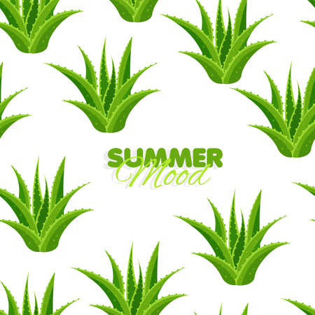 Seamless pattern with aloe leaves. Summer mood banner with floral background. Herbal botanical design. Vector illustration.
