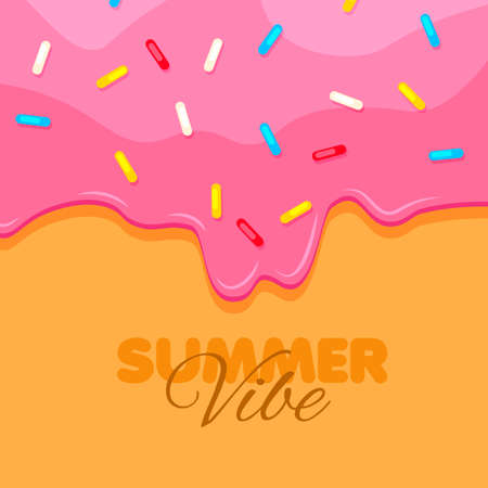 Donut close up. Sweet pink donut background. Summer vibe banner. Vector illustration.