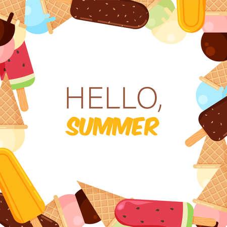 Ice creams frame in trendy cartoon style. Ice-cream seamless pattern. Summer banner template isolated. Vector illustration. Illustration