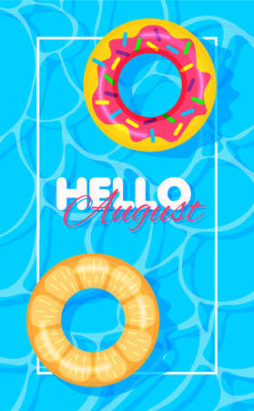 Swimming pool summer background with donut and orange print lifebuoys. Hello august concept. Pool party template banner. Float rings. Vector illustration in trendy flat style.