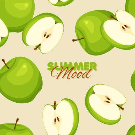 Green apple seamless pattern. Summer banner concept. Vector illustration.