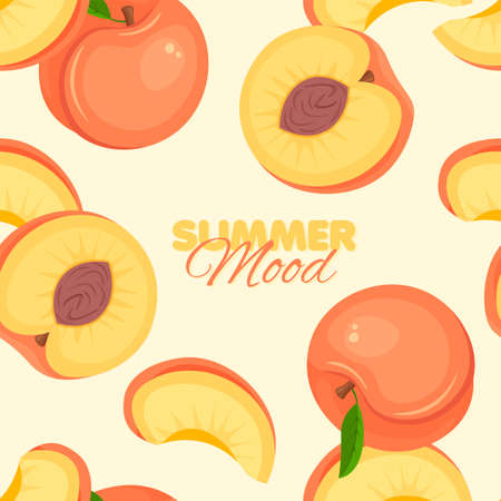 Peach seamless pattern. Summer banner concept. Vector illustration. Illustration