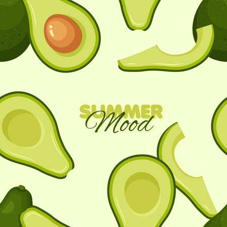 Avocado seamless pattern. Summer banner concept. Vector illustration.