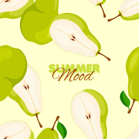 Pear seamless pattern. Summer banner concept. Vector illustration