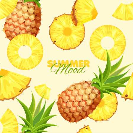 Pineapple seamless pattern. Summer banner concept. Vector illustration.
