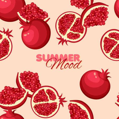 Garnet seamless pattern. Summer banner concept. Vector illustration. Illustration