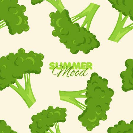 Broccoli seamless pattern. Summer mood banner template. Vector illustration. Illustration