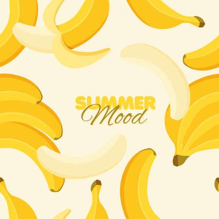 Banana seamless pattern. Summer banner concept. Yellow background. Vector illustration.