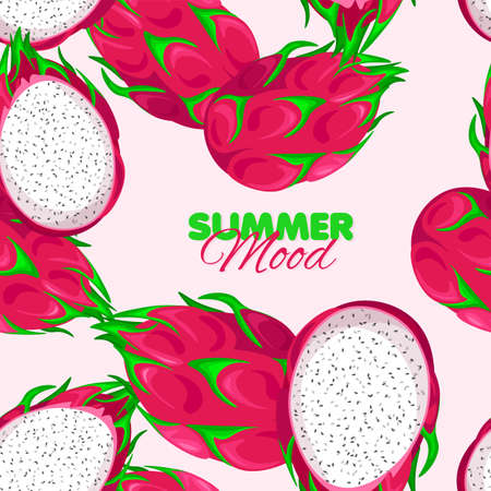 Pitaya seamless pattern. Summer mood banner with Dragon Fruit. Vector illustration.