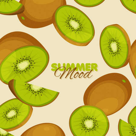 Kiwi seamless pattern. Summer mood banner template. Vector illustration. Illustration