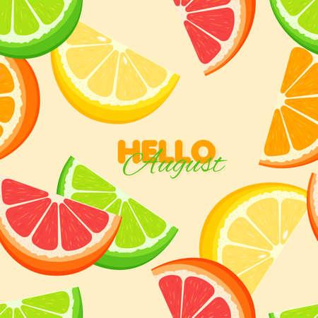 Citrus seamless pattern. Summer banner template with orange, lemon, lime. Yellow background. Vector illustration.