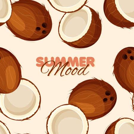 Coconut seamless pattern. Summer mood banner template. Beige background. Vector illustration. Illustration