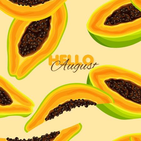 Papaya seamless pattern. Summer banner template. Vector illustration.