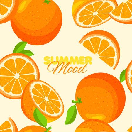 Orange seamless pattern. Summer banner concept. Yellow background. Vector illustration.