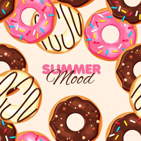 Donut seamless pattern. Chocolate, vanilla and strawberry donut. Summer banner. Vector illustration