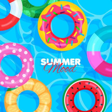 Colorful lifebuoy pattern. Summer banner concept. Pool party. Blue background. Vector illustration. Illustration