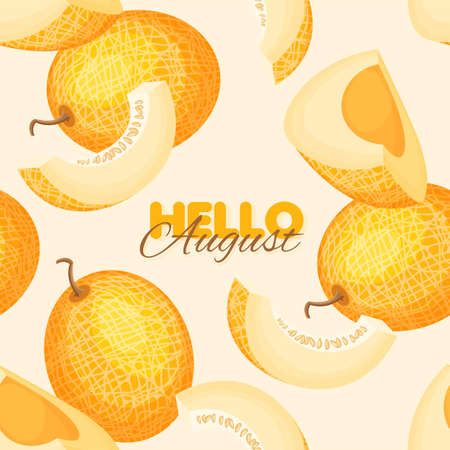 Ripe melon seamless pattern. Summer banner concept. Vector illustration.