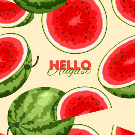 Watermelon seamless pattern. Summer banner concept. Vector illustration
