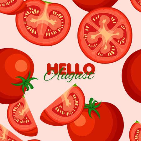 Tomato seamless pattern. Summer banner concept. Vector illustration.