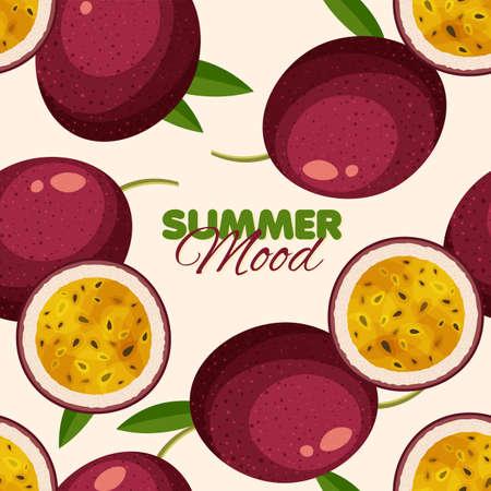 Passion fruit seamless pattern. Summer banner concept. Vector illustration