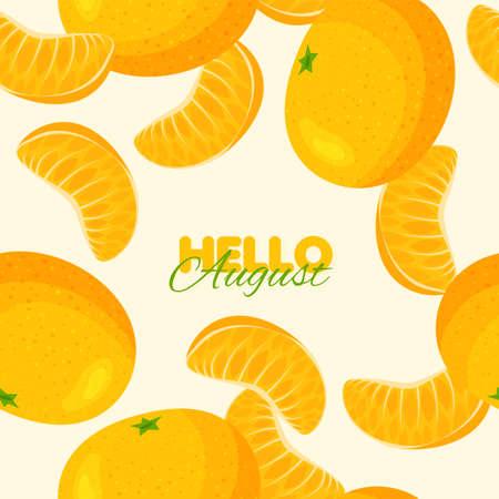 Tangerine seamless pattern. Summer banner concept. Vector illustration Illustration