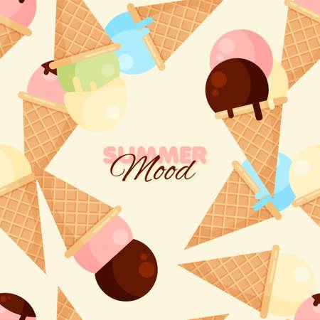 Cartoon ice-cream cone seamless pattern. Chocolate, vanilla and strawberry ice creams. Summer banner template. Vector illustration.