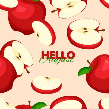 Red apple seamless pattern. Summer banner template. Vector illustration.