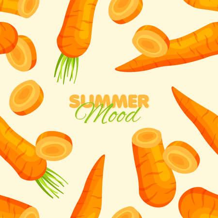 Bright carrot pepper seamless pattern. Summer banner concept. Vector illustration.