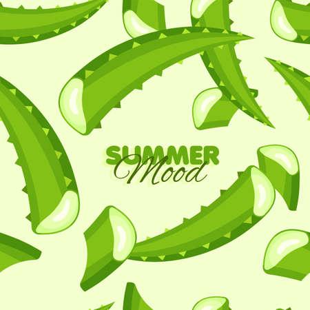 Aloe leaves seamless pattern. Summer banner with floral background. Herbal botanical design. Vector illustration.
