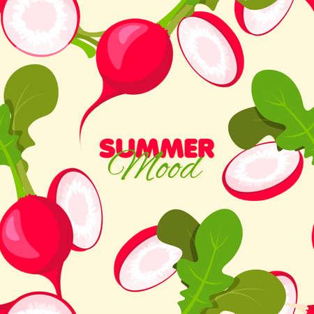 Bright radish seamless pattern. Summer banner concept. Vector illustration.