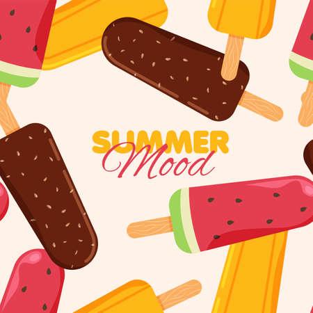 Ice-cream seamless pattern. Chocolate, orange and watermelon ice cream frozen juice. Summer banner template. Vector illustration. Illustration