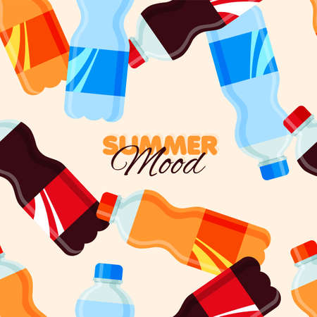 Soda drink seamless pattern. Summer banner template with sweet sparkling water. Vector illustration Illustration