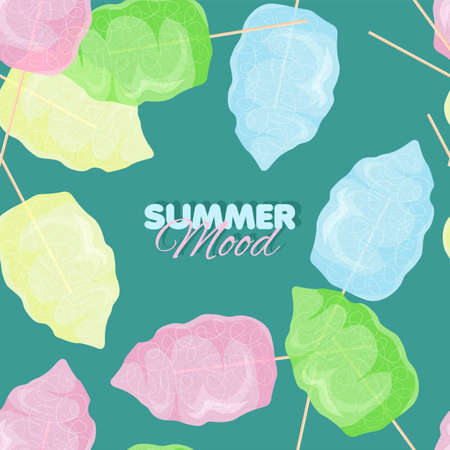 Cotton candy seamless pattern. Summer banner template. Vector illustration
