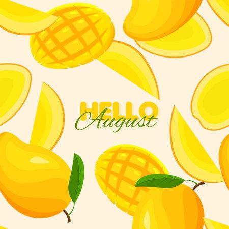 Mango seamless pattern. Exotic summer banner concept. Vector illustration