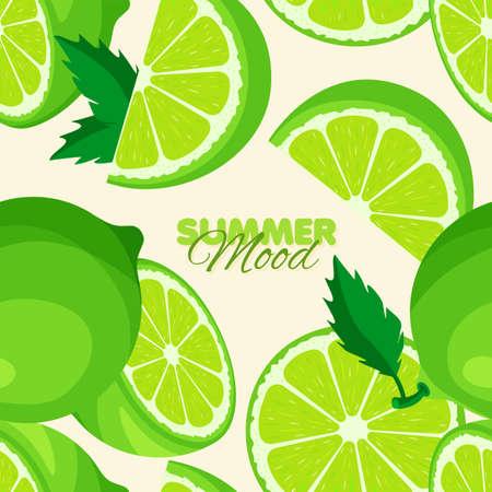 Lime seamless pattern. Summer banner concept. Vector illustration. Illustration