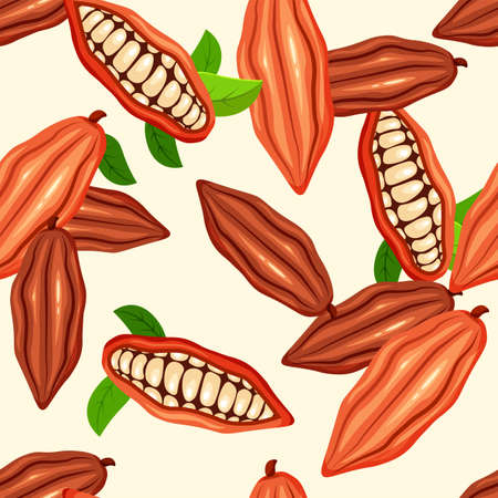 Cocoa beans seamless pattern. Chocolate tree fruit. Cacao plant. Vector food concept in a trendy cartoon style.