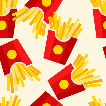 French fries seamless pattern. Summer banner with fast food icon. Flat vector illustration for poster, menus, brochure and web pages.