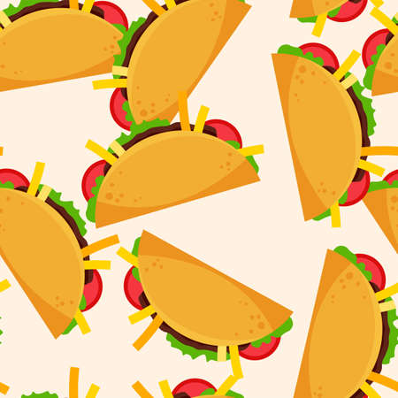 Taco seamless pattern. Summer banner with fast food icon. Flat vector illustration for poster, menus, brochure and web pages