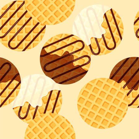 Viennese or belgian waffles seamless pattern. Round waffle with vanilla cream and chocolate syrup or topping. Vector illustration in trendy flat style.