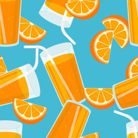 Orange juice seamless pattern. Summer banner concept. Blue background. Vector illustration.