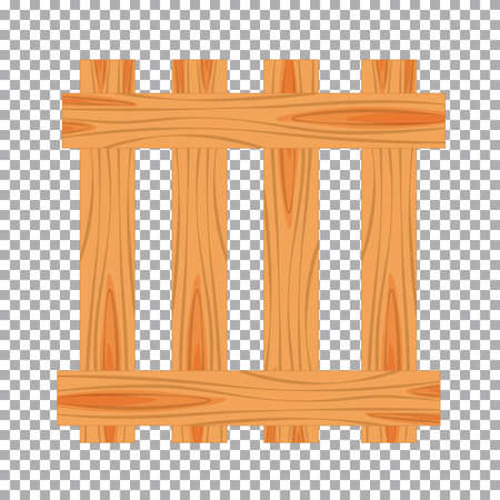 Wood farmer's fence. Wooden plaque and crossed boards isolated on transparent background. Vector illustration Illustration