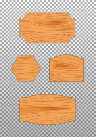 Flat design of wooden road sign. Wood empty signboard, plank and plaque isolated on transparent background. Vector illustration.