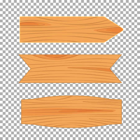 Flat design of wooden road sign. Wood empty signboard, plank and plaque isolated on transparent background. Vector illustration