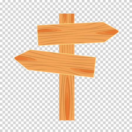 Flat design of wooden road sign. Wood empty signboard, plank and plaque isolated on white background. Vector illustration