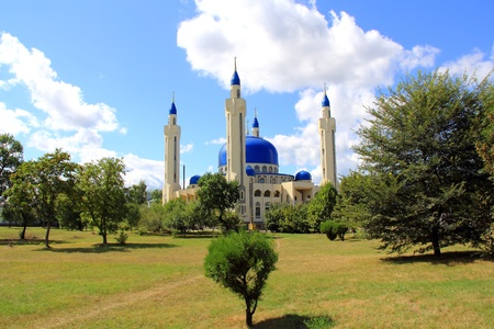 Summer landscape with Islam temple of the South Russia Stock Photo