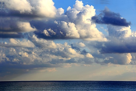 skyscape: Beautiful picture with sea and cloudiness sky Stock Photo