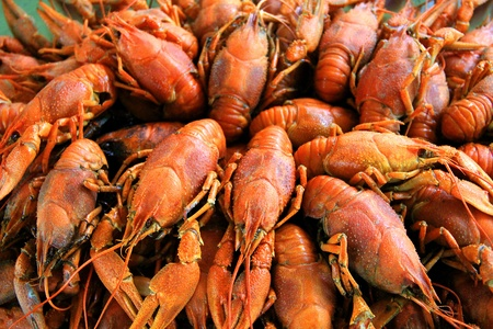 Background with many boiled crawfishes Stock Photo