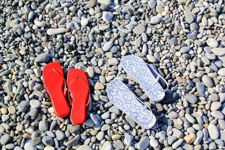 varicoloured: Imagen de esquistos multicolores femeninos en la playa