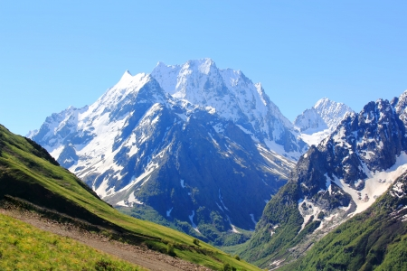 Image of beautiful landscape with Caucasus mountains photo