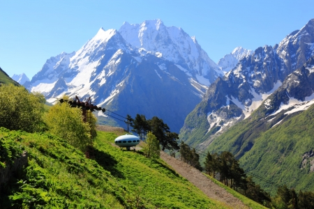 Image of beautiful landscape with Caucasus mountains